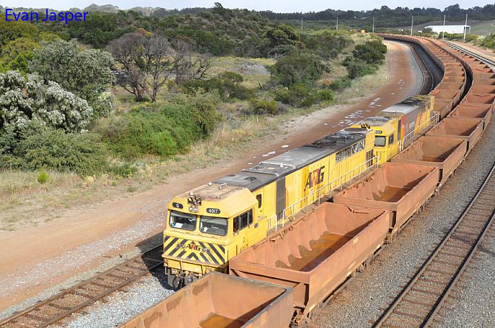 Q4017 and Q4001 on 5415 loaded iron ore train seen here arriving at Esperance yard on the 11th November 2016