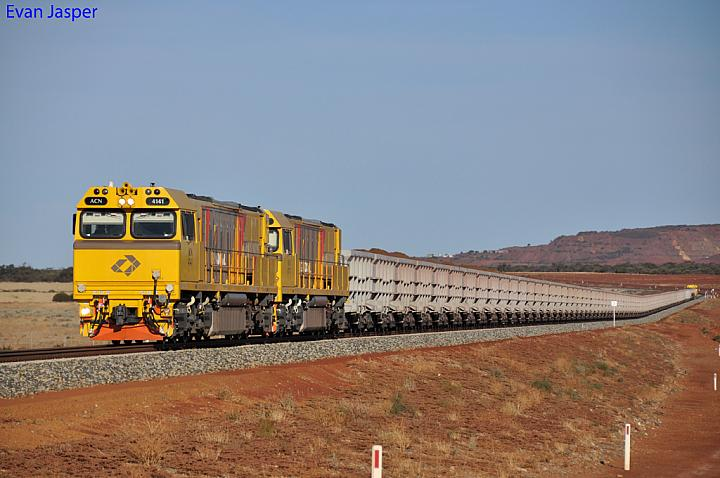 ACN4141 and ACN4171 on 7765 loaded iron ore train just west of the Koolanooka minesite on the new Tilley- Karara Railway on the 1st December 2012