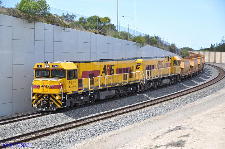 P2502 and P2514 on 1721 loaded iron ore train approaching Geraldton Port on the 2nd December 2012