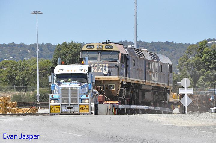 42211 on the back of a truck about to leave Forrestfield for fremantle to be shipped to South Africa taken on the 6th January 2015