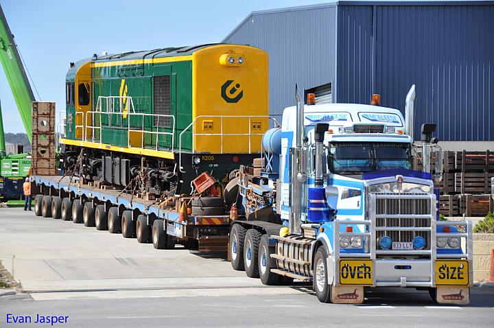 K205 on a low loader getting ready to depart Gemco Rail to head up to Karara on the 8th May 2011