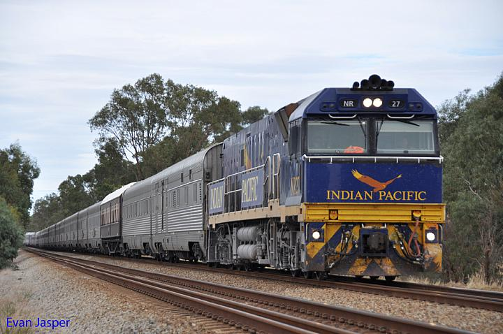 NR27 on 1PA8 Indian Pacific at Middle Swan on the 15th May 2011