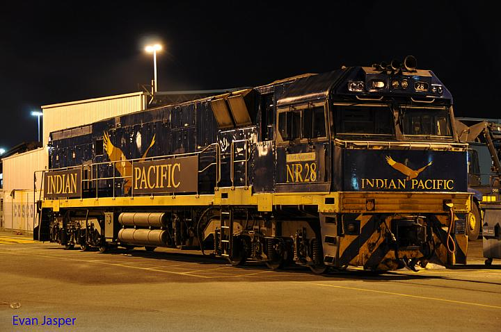 NR28 sits under lights at Kewdale PFT yard on the 12th May 2013
