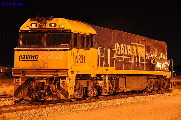 NR31 sits under the lights at Kewdale Yard on the 26th April 2012