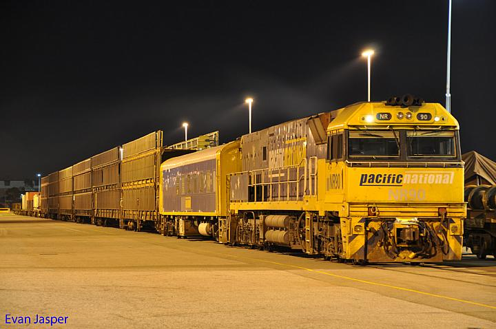 NR90 at Kewdale yard under lights awaiting its next job on the 13th March 2013
