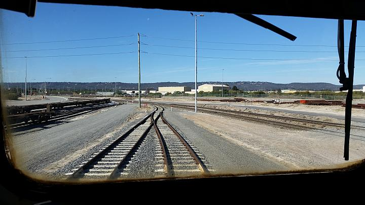 A cab view of Pacific Nationals 8121 shunt loco at PFT Kewdale 13th July 2016