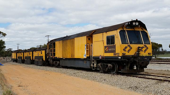 Aurizons Track Griding Machine MMY032 sits in the refuge siding at Tamin on the 3rd September 2017
