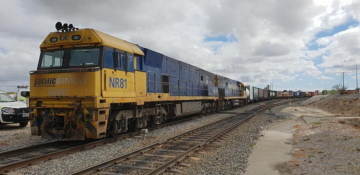 NR81 and NR38 on 1PM5 freight getting ready to depart PFT Kewdale on the 18th November 2018