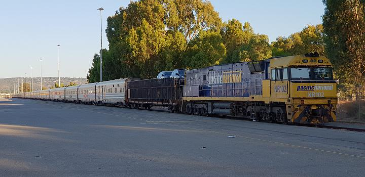 NR102 sits with the Indian Pacific at Perth Freight Terminal Kewdale on the 6th January 2019, Due to a derailment near Cook on the same day the Indian Pacific was cancelled