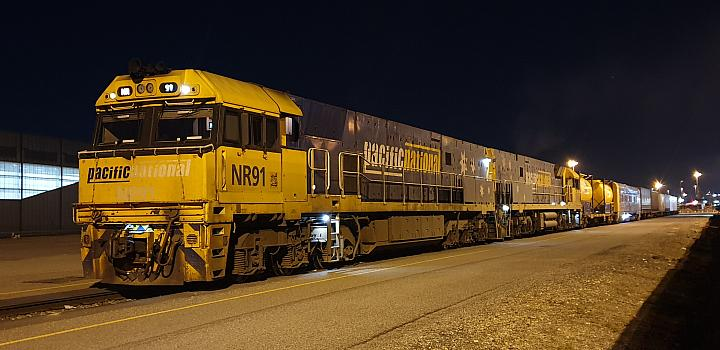 NR91 and NR55 with a inline fuel wagon sits at Perth Freight Terminal waiting to put there train together (3PM7) on the 19th June 2019