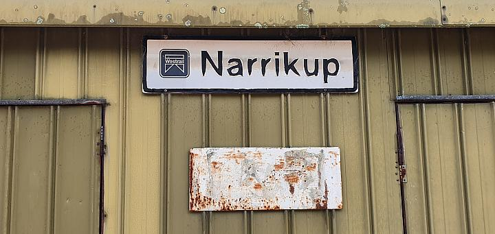 Narrikup station sign, note the old Westrail logo 4th September 2019
