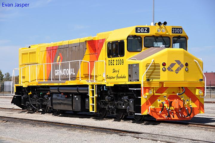 Just released from the workshops from overhaul and a new paint job is DBZ2309 at Forrestfield Yard on the 6th February 2012