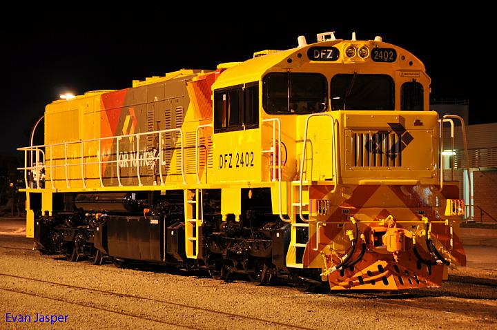 DFZ2402 in the new QR National Livery at Forrestfield Yard on the 2nd May 2011