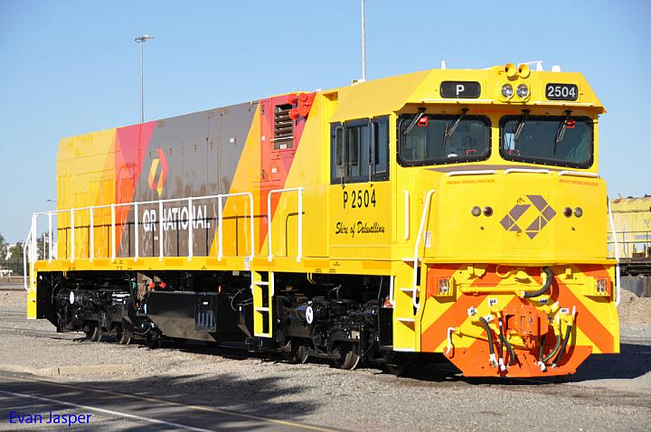 P2504 in the new QR National livery at Forrestfield Yard on the 12th May 2011