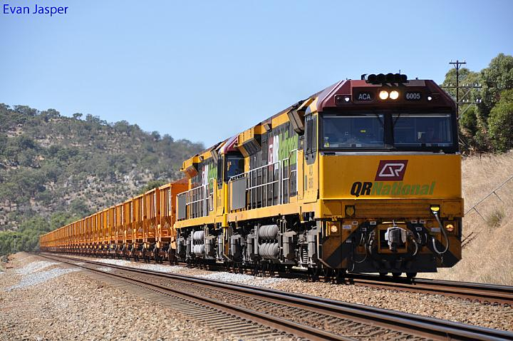 ACA6005 and ACA6010 on 1030 loaded iron ore train at Brigadoon on the 5th February 2012