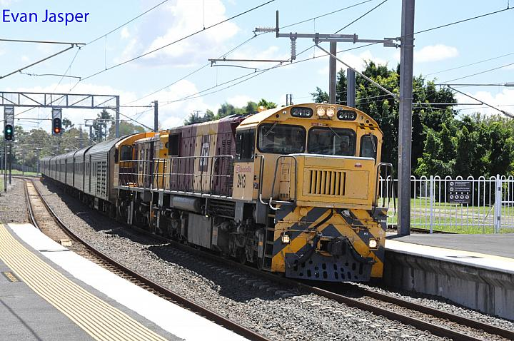 Queensland Rail 2413 and 1725 seen here work P986 Spirit of the Outback seen here at Zillmere on the 24th October 2017