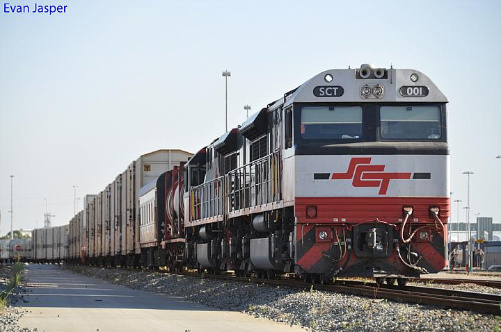 SCT001 and SCT007 on 1PM9 freighter at Forrestfield Yard on the 6th February 2011