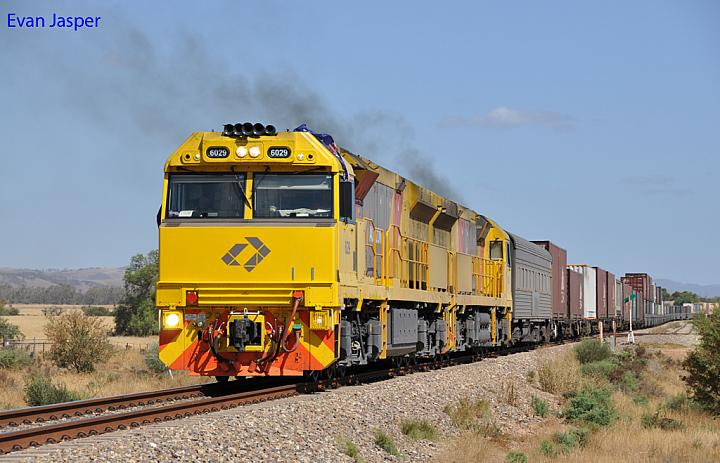 6029 and 6023 on 6MP1 freighter at Mambray Creek on the 26th January 2013