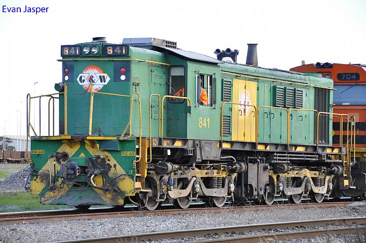 A close up shot of 841 shunting at Dry Creek Yard on the 9th August 2012
