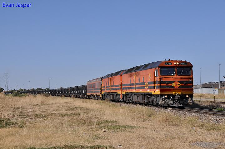 ALF22 and ALF23 on 9112 loaded GWA iron ore train at Dry Creek on the 20th January 2013