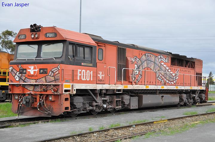 FQ01 sits at Dry Creek Yard on the 11th August 2012