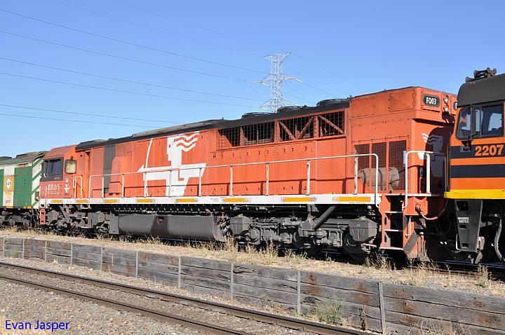 A close up shot of FQ03 on 5114 loaded grain train at Dry Creek Yard on the 20th January 2013