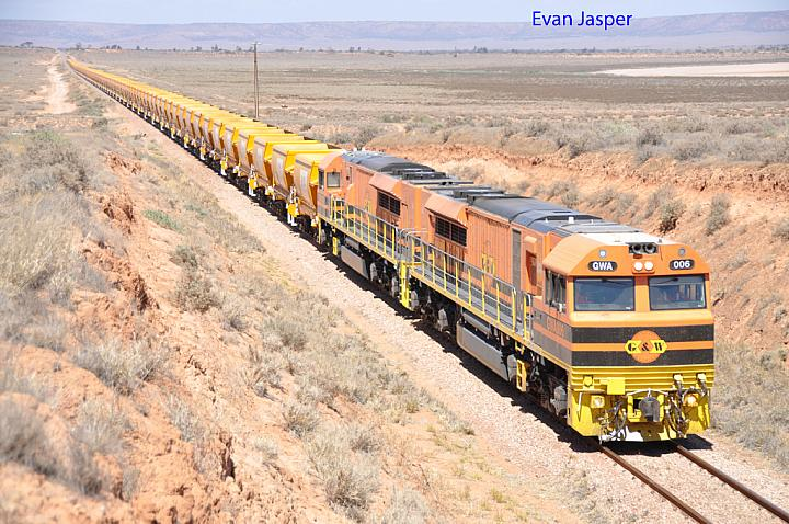 GWA006 and GWA008 on 6913 empty iron ore train at Port Augusta West on the 26th January 2013