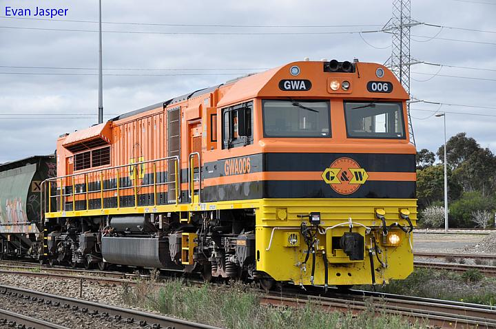 Close up shot of GWA006 departing Dry Creek Yard on 11215 loaded grain train on the 12th August 2012