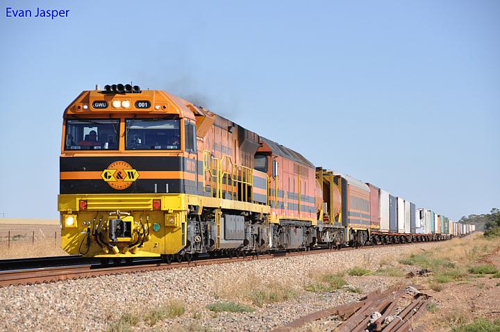 GWU001 and ALF22 on 7AD1 freighter at Soloman Town on the 26th January 2013