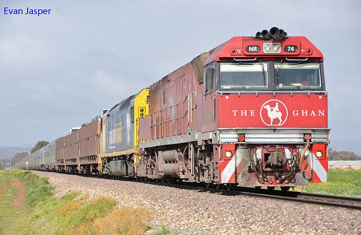 NR74 and AN2 on 1AD8 Ghan service at Direk on the 5th August 2012