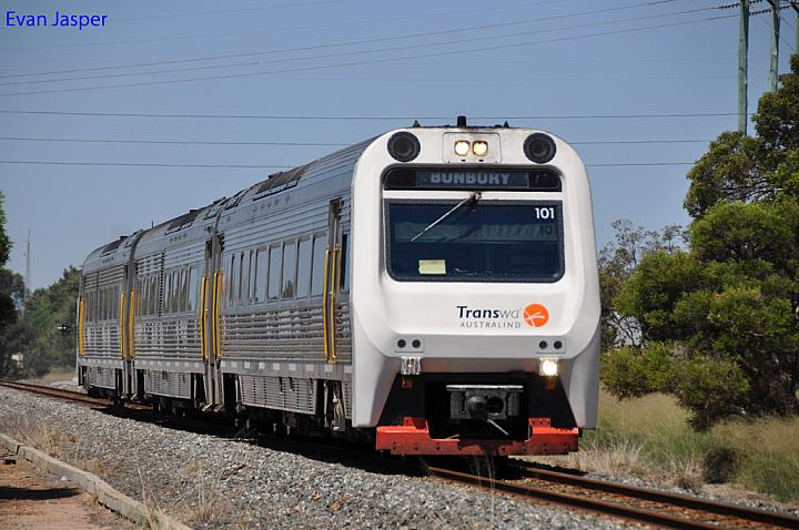 ADP101/ADQ122/ADP103 on 4503 empty Australind Service from Picton to Bunbury Station at Picton on the 12 January 2011