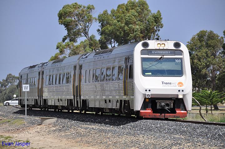 ADP103 / ADQ121 / ADP101 on 6503 empty Australind service arriving into Bunbury Station on the 4th January 2013