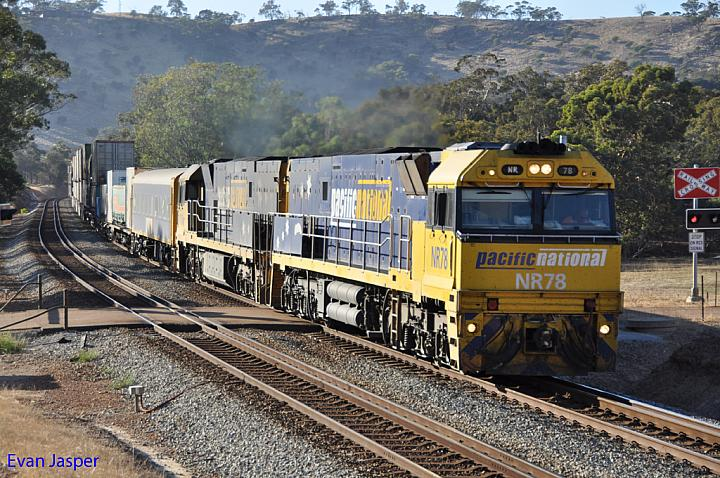 NR78 and NR108 on 5MP5 freighter at Toodyay on the 24th March 2013