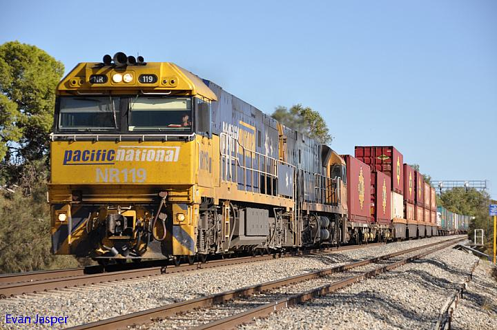 NR119 and NR6 on 1PS6 freighter at Northam on the 3rd April 2011