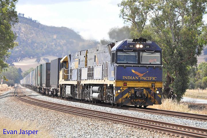 NR26 and NR24 on 1PM7 freighter seen here powering though Katrina (Near Toodyay) on the 1st December 2013