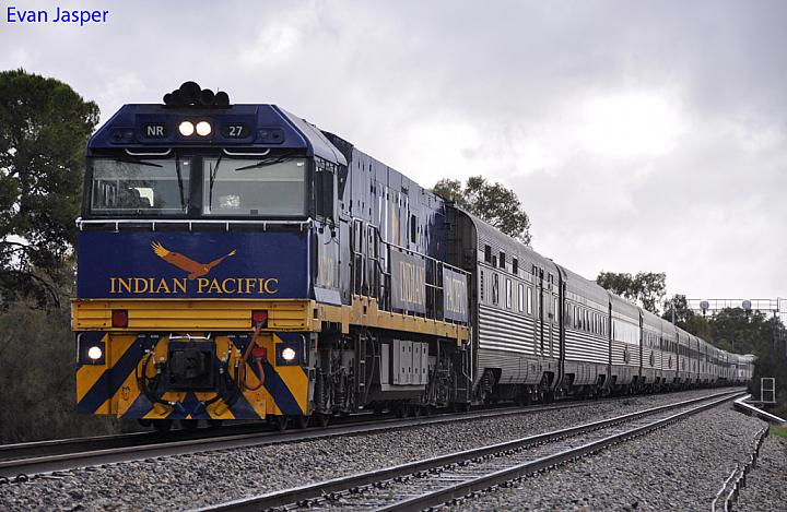 NR27 on 1PA8 Indian Pacific at Northam on the 10th June 2012