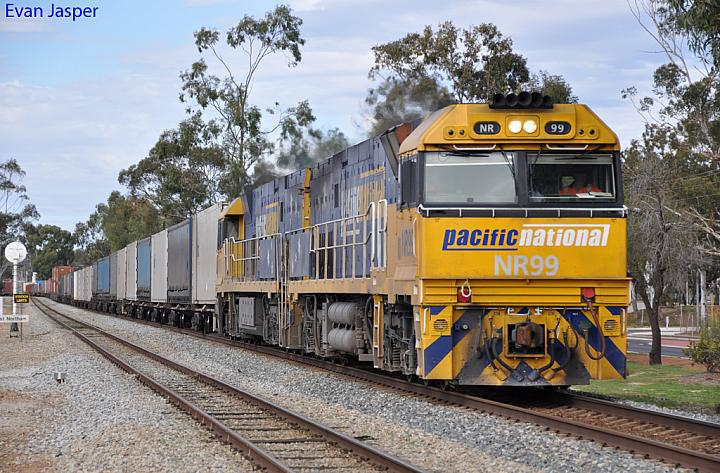 NR99 and NR47 on 6SP5 freighter at Northam on the 24th June 2012
