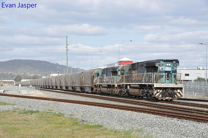 CBH120 and CBH119 on 1S56 loaded CBH grain train seen here heading though Midland for Kwinana on the 15th September 2019