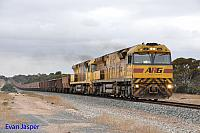 AC4306 and ACB4403 on 5416 empty iron ore train seen here approaching Salmon Gums on the 10th November 2016