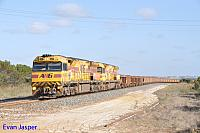 AC4307 and AC4305 on 7417 loaded iron ore train seen here heading though Shark Lake on the 13th November 2016