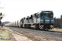 CBH014 and CBH017 on 7A33 loaded CBH grain seen here heading though Wagin for Albany on the 31st May 2014