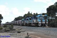 CBH017 and CBH016 on 3A82 empty CBH grain train seen here heading though Cranbrook for Wagin on the 21st May 2019