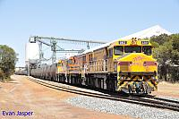 DBZ2301 DBZ2302 and DBZ2305 on 1K04 loaded CBH grain train ready to depart Brookton on the 5th January 2020