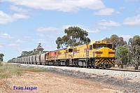 DBZ2305, DBZ2301 and DBZ2302 on 1K04 grain train seen here  heading though Burges on the 13th October 2019