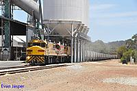DBZ2305, DBZ2302 and DBZ2301 on 1K03 empty CBH grain train seen here loading there train at Brookton on the 5th January 2020
