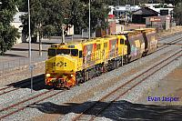 DBZ2309 and DBZ2311 on 5305 loco and wagon transfer from Forrestfield to Albany seen here heading though Narrogin on the 4th January 2019