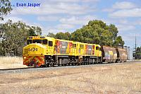 DBZ2309 and DBZ2311 on 5305 loco and wagon transfer from Forrestfield to Albany seen here heading though Wagin on the 4th January 2019