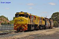 DBZ2309 and DBZ2311 on 5305 loco and wagon transfer from Forrestfield to Albany seen here heading though Katanning on the 4th January 2019