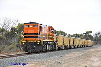 DBZ2310 on 5WB1 loaded ballast train is seen here arriving into Cranbrook to run around on the 12th February 2015