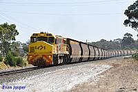 DBZ2311 on 6605 loaded woodchip train seen here powering though Mount Elphinstone on the 13th February 2015